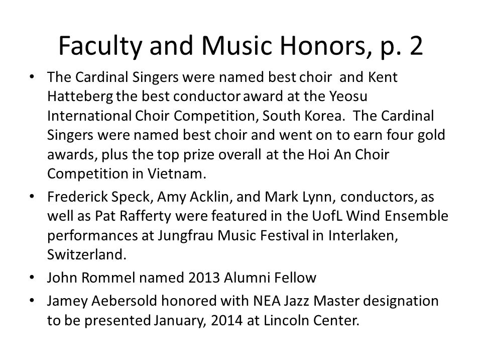 Faculty and Music Honors, p.