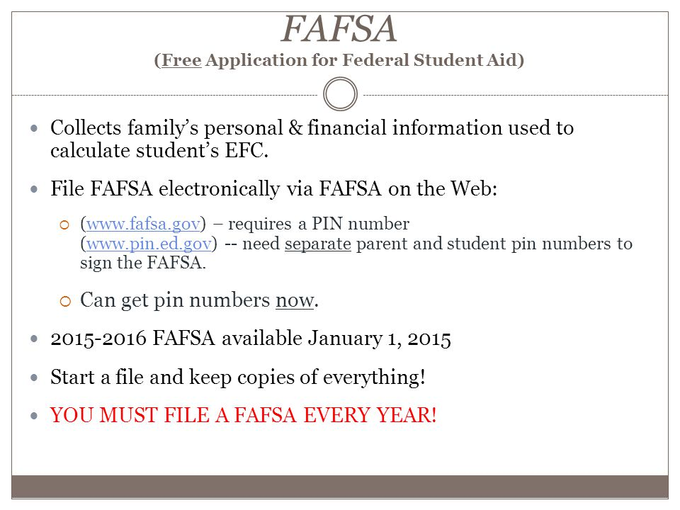 FAFSA (Free Application for Federal Student Aid) Collects family's personal & financial information used to calculate student's EFC.