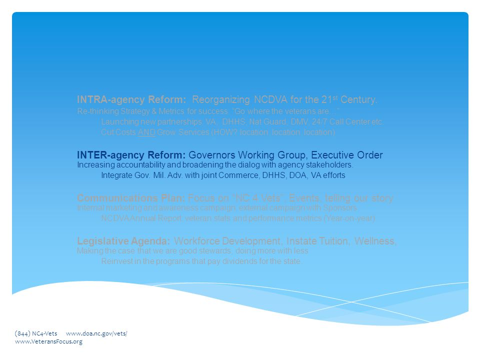 INTRA-agency Reform: Reorganizing NCDVA for the 21 st Century.
