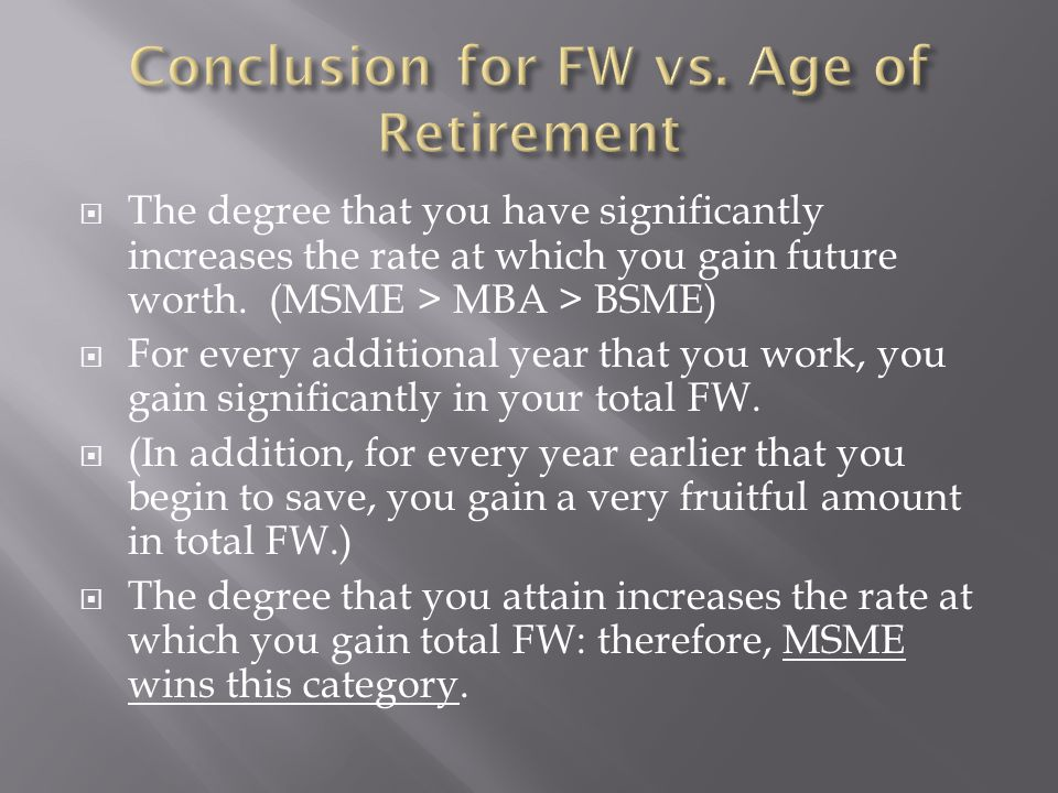  The degree that you have significantly increases the rate at which you gain future worth.