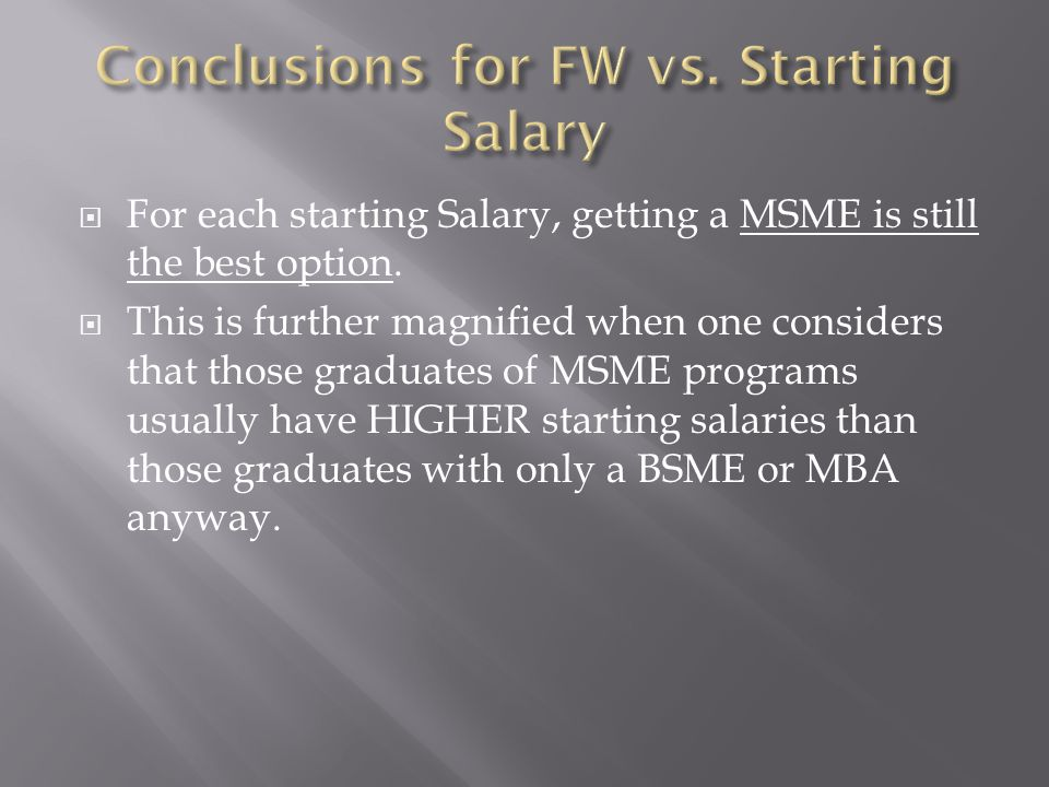  For each starting Salary, getting a MSME is still the best option.