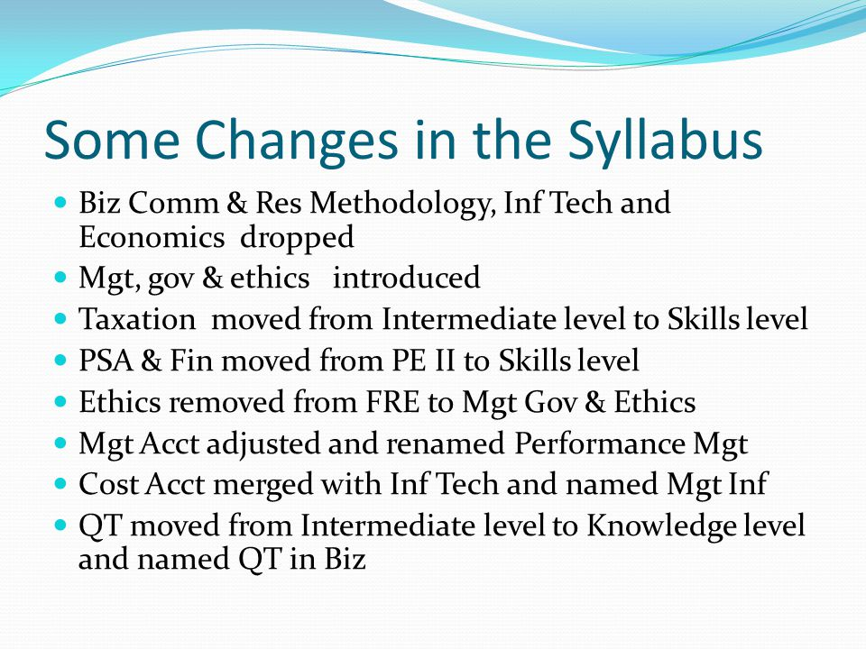 Some Changes in the Syllabus Biz Comm & Res Methodology, Inf Tech and Economics dropped Mgt, gov & ethics introduced Taxation moved from Intermediate