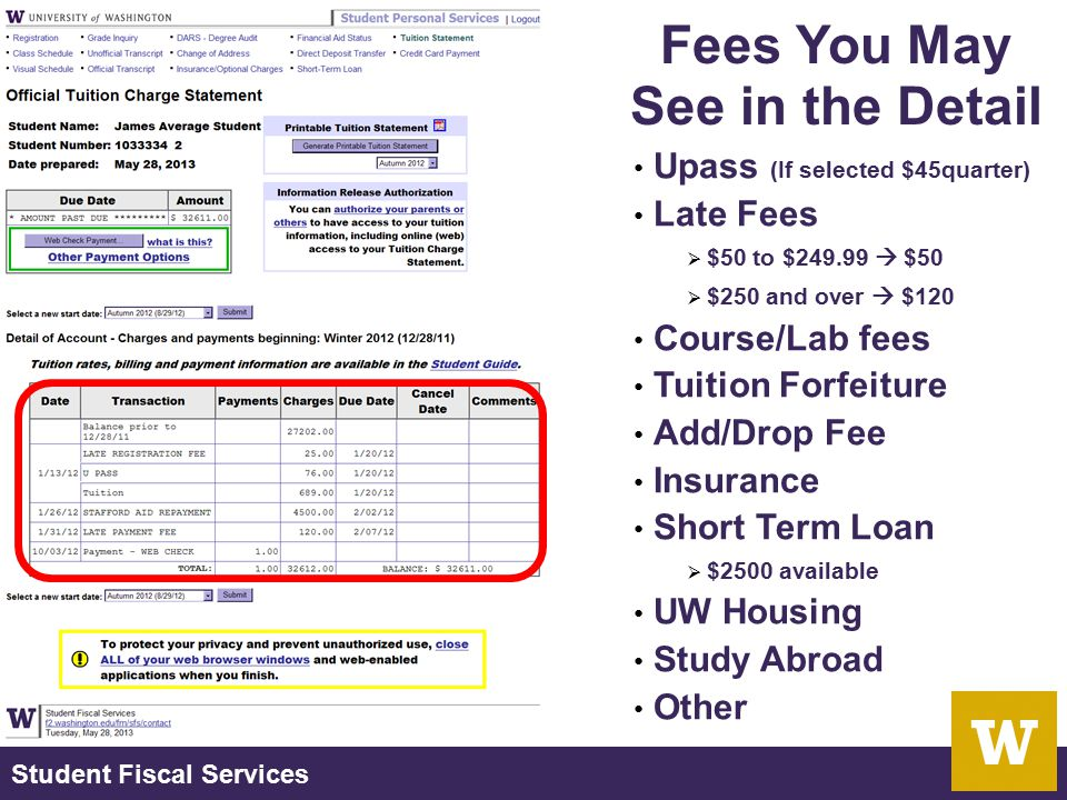 Student Fiscal Services Upass (If selected $45quarter) Late Fees  $50 to $249.99  $50  $250 and over  $120 Course/Lab fees Tuition Forfeiture Add/
