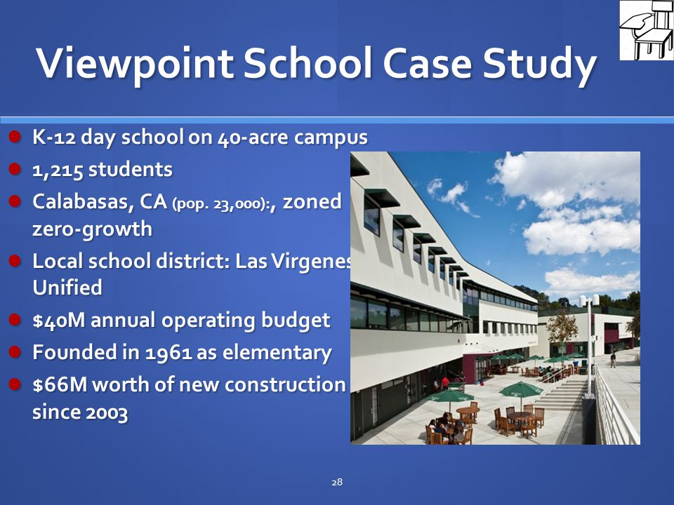 Viewpoint School Case Study K-12 day school on 40-acre campus K-12 day school on 40-acre campus 1,215 students 1,215 students Calabasas, CA (pop.
