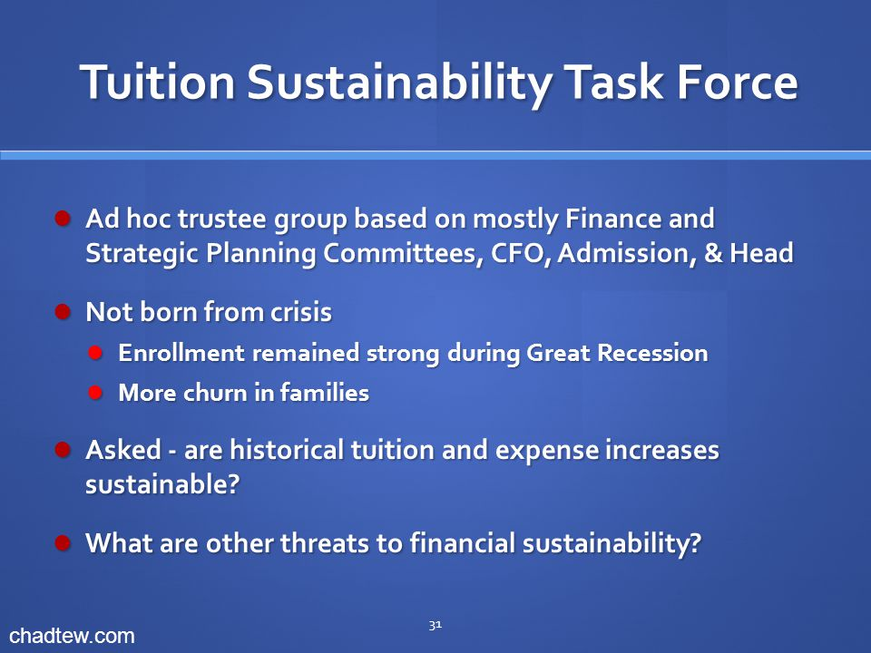 Tuition Sustainability Task Force Tuition Sustainability Task Force Ad hoc trustee group based on mostly Finance and Strategic Planning Committees, CFO, Admission, & Head Ad hoc trustee group based on mostly Finance and Strategic Planning Committees, CFO, Admission, & Head Not born from crisis Not born from crisis Enrollment remained strong during Great Recession Enrollment remained strong during Great Recession More churn in families More churn in families Asked - are historical tuition and expense increases sustainable.