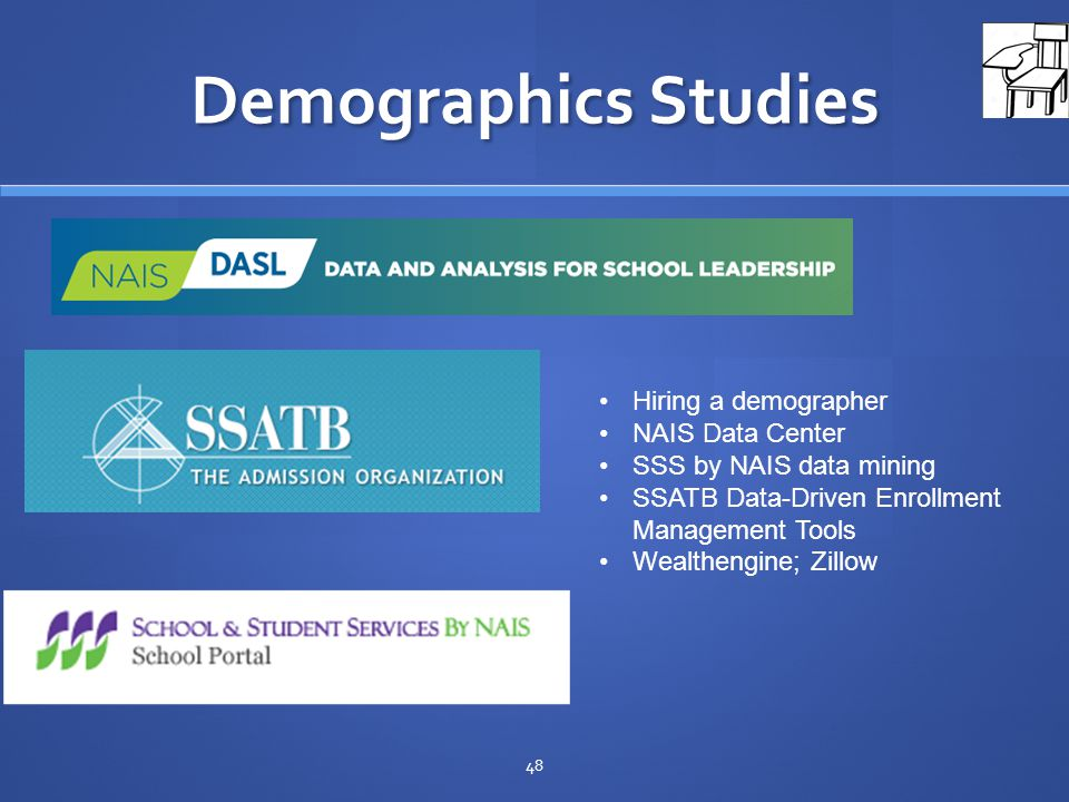 Demographics Studies 48 Hiring a demographer NAIS Data Center SSS by NAIS data mining SSATB Data-Driven Enrollment Management Tools Wealthengine; Zillow