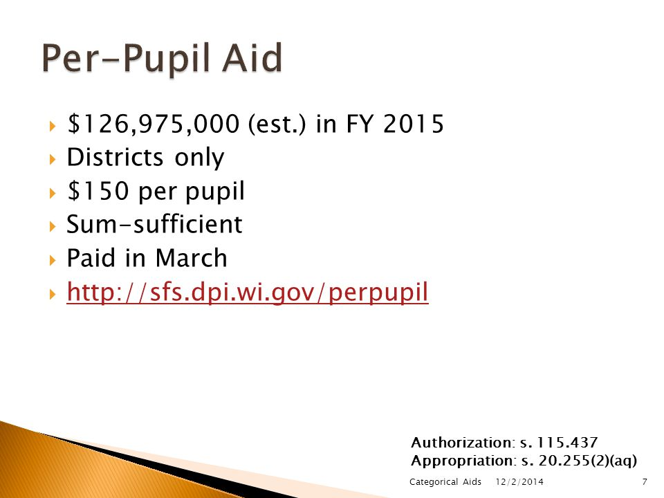 $109,318,200 in FY 2015  Districts only  Grant-based, contract w/ DPI to keep K-3 class sizes small & offer other programming  Sum-certain, $2,250 per low-income pupil (prorated to $2,069 in FY 2015)  Paid in 3 installments  http://sage.dpi.wi.gov/sage_home http://sage.dpi.wi.gov/sage_home 12/2/2014 Categorical Aids8 Authorization: s.