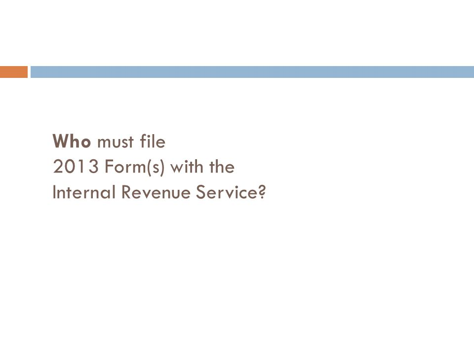 Who must file 2013 Form(s) with the Internal Revenue Service?