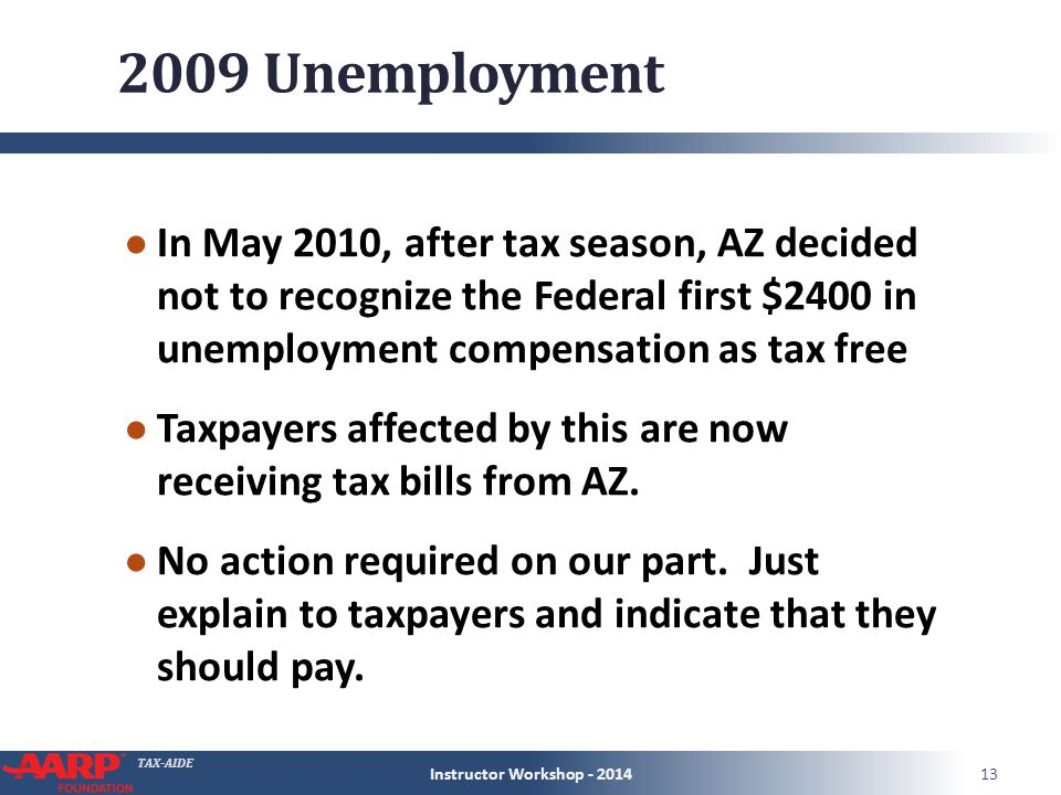 TAX-AIDE 2009 Unemployment ● In May 2010, after tax season, AZ decided not to recognize the Federal first $2400 in unemployment compensation as tax free ● Taxpayers affected by this are now receiving tax bills from AZ.