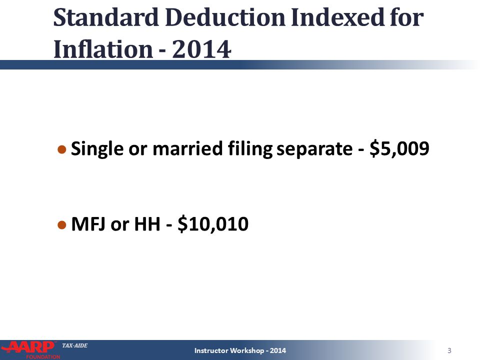 TAX-AIDE Standard Deduction Indexed for Inflation - 2014 ● Single or married filing separate - $5,009 ● MFJ or HH - $10,010 Instructor Workshop - 20143