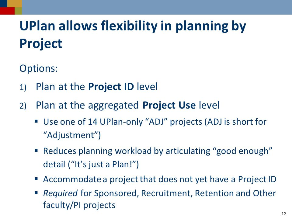 UPlan allows flexibility in planning by Project Options: 1) Plan at the Project ID level 2) Plan at the aggregated Project Use level  Use one of 14 UPlan-only ADJ projects (ADJ is short for Adjustment )  Reduces planning workload by articulating good enough detail ( It's just a Plan! )  Accommodate a project that does not yet have a Project ID  Required for Sponsored, Recruitment, Retention and Other faculty/PI projects 12