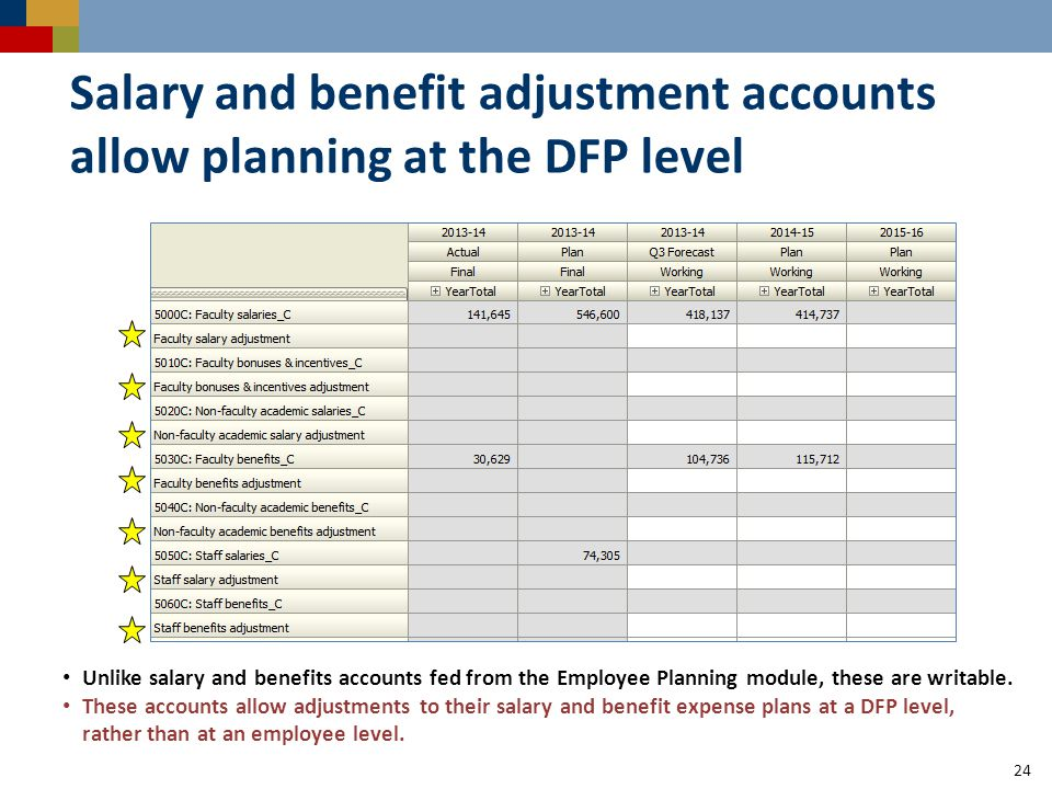 Salary and benefit adjustment accounts allow planning at the DFP level 24 Unlike salary and benefits accounts fed from the Employee Planning module, these are writable.