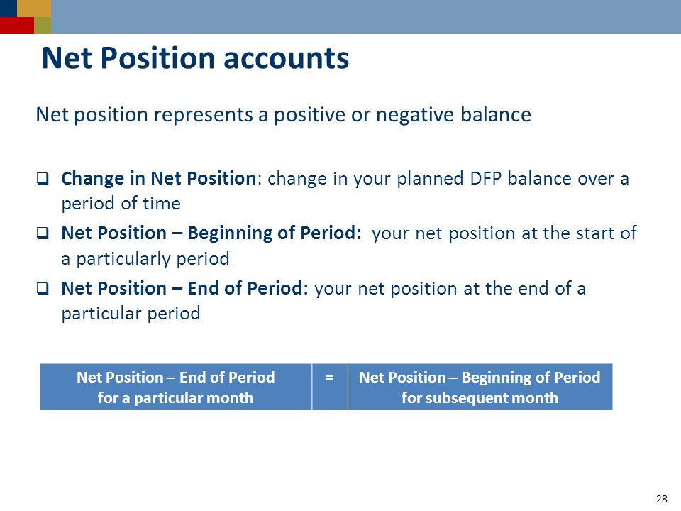28 Net Position accounts Net position represents a positive or negative balance  Change in Net Position: change in your planned DFP balance over a period of time  Net Position – Beginning of Period: your net position at the start of a particularly period  Net Position – End of Period: your net position at the end of a particular period Net Position – End of Period for a particular month =Net Position – Beginning of Period for subsequent month