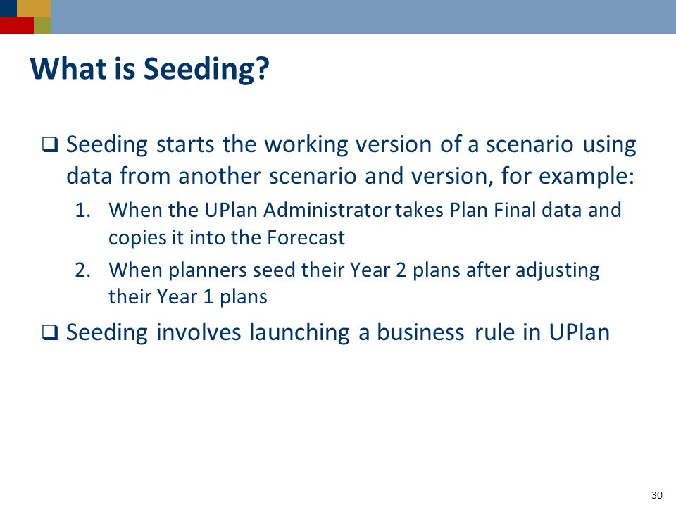 30 What is Seeding.