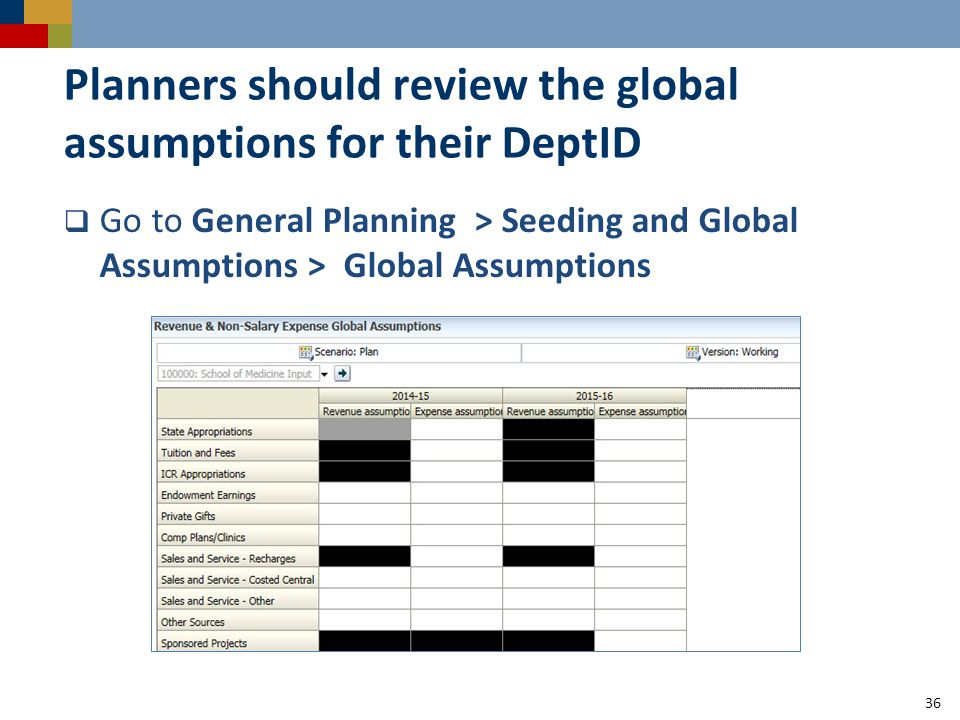 Planners should review the global assumptions for their DeptID  Go to General Planning > Seeding and Global Assumptions > Global Assumptions 36