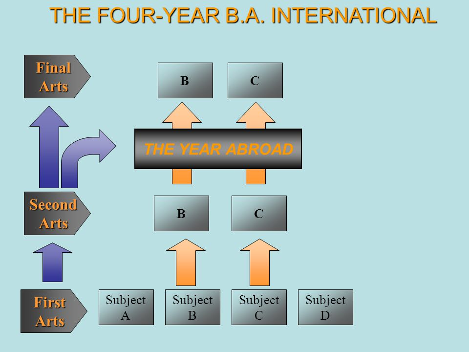 Subject A Subject B Subject C Subject D BC THE YEAR ABROAD BC THE FOUR-YEAR B.A. INTERNATIONAL FinalArts SecondArts FirstArts