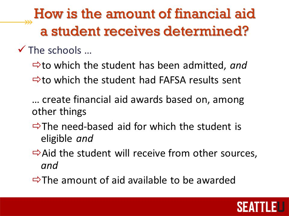 How is the amount of financial aid a student receives determined.