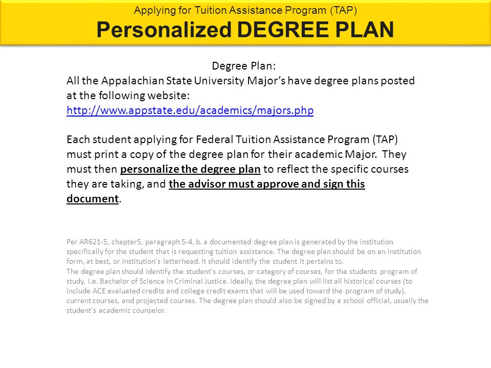 Degree Plan: All the Appalachian State University Major's have degree plans posted at the following website: http://www.appstate.edu/academics/majors.
