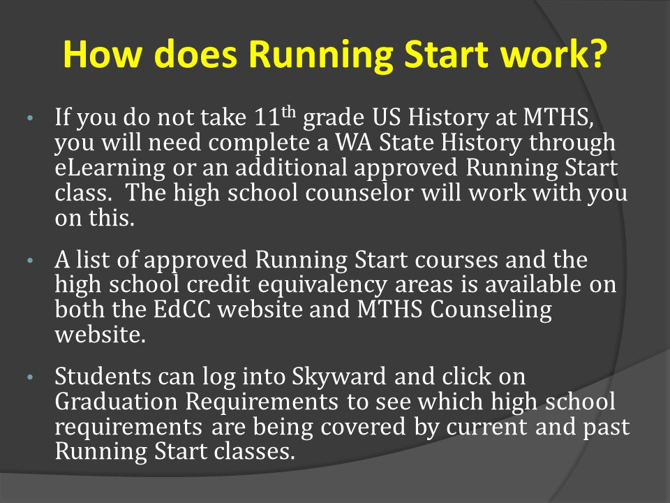 If you do not take 11 th grade US History at MTHS, you will need complete a WA State History through eLearning or an additional approved Running Start class.