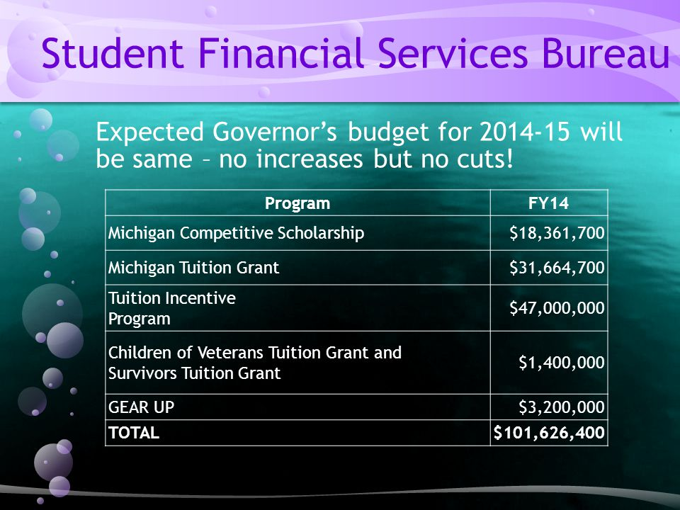 Expected Governor's budget for 2014-15 will be same – no increases but no cuts.