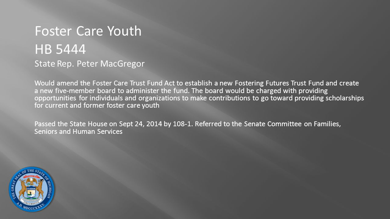 Foster Care Youth HB 5444 State Rep. Peter MacGregor Would amend the Foster Care Trust Fund Act to establish a new Fostering Futures Trust Fund and cr