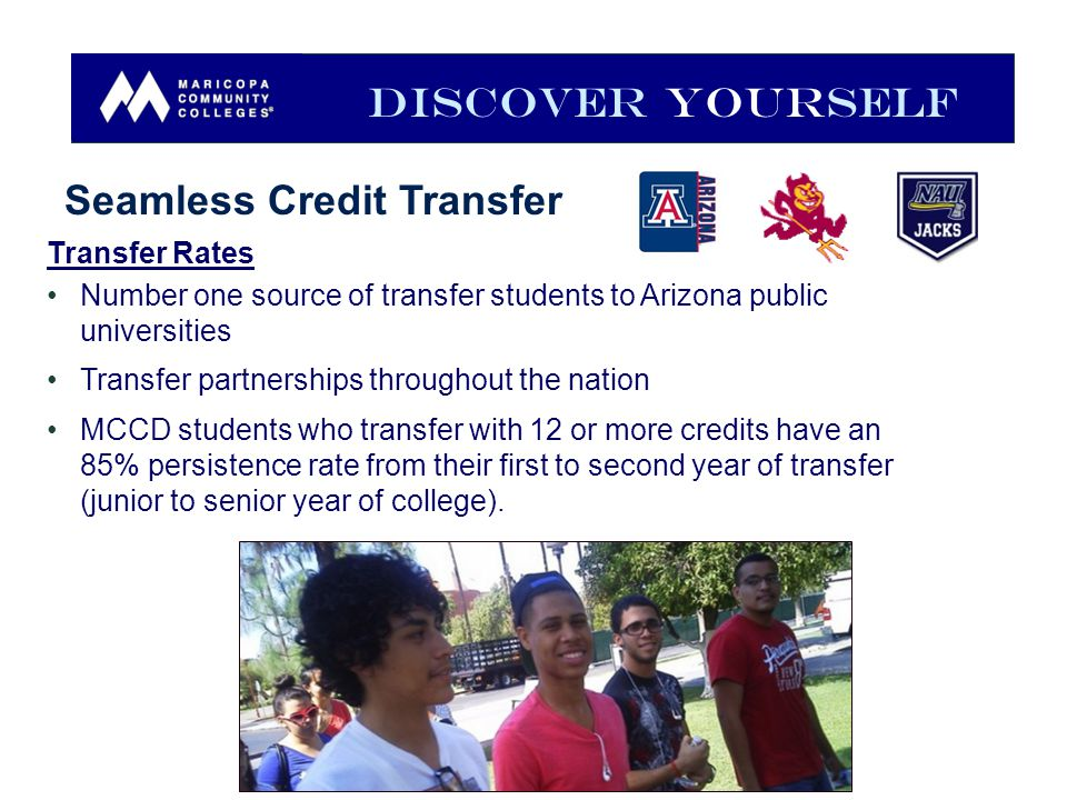Transfer Rates Number one source of transfer students to Arizona public universities Transfer partnerships throughout the nation MCCD students who transfer with 12 or more credits have an 85% persistence rate from their first to second year of transfer (junior to senior year of college).