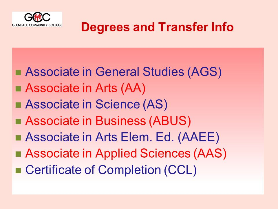 Degrees and Transfer Info Associate in General Studies (AGS) Associate in Arts (AA) Associate in Science (AS) Associate in Business (ABUS) Associate in Arts Elem.