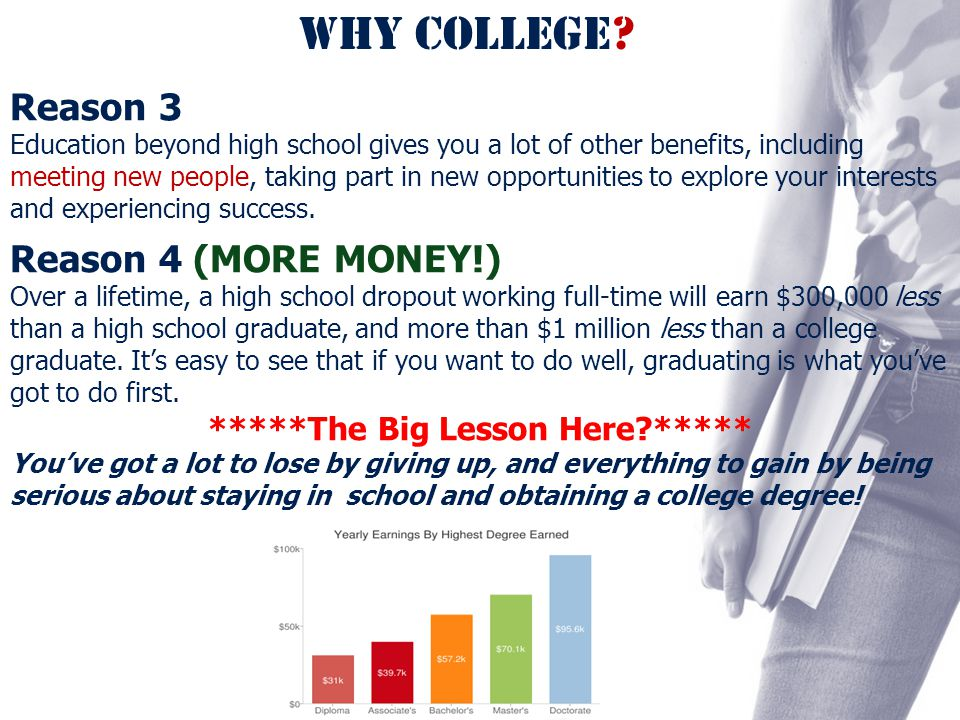 WHY COLLEGE? Reason 3 Education beyond high school gives you a lot of other benefits, including meeting new people, taking part in new opportunities t