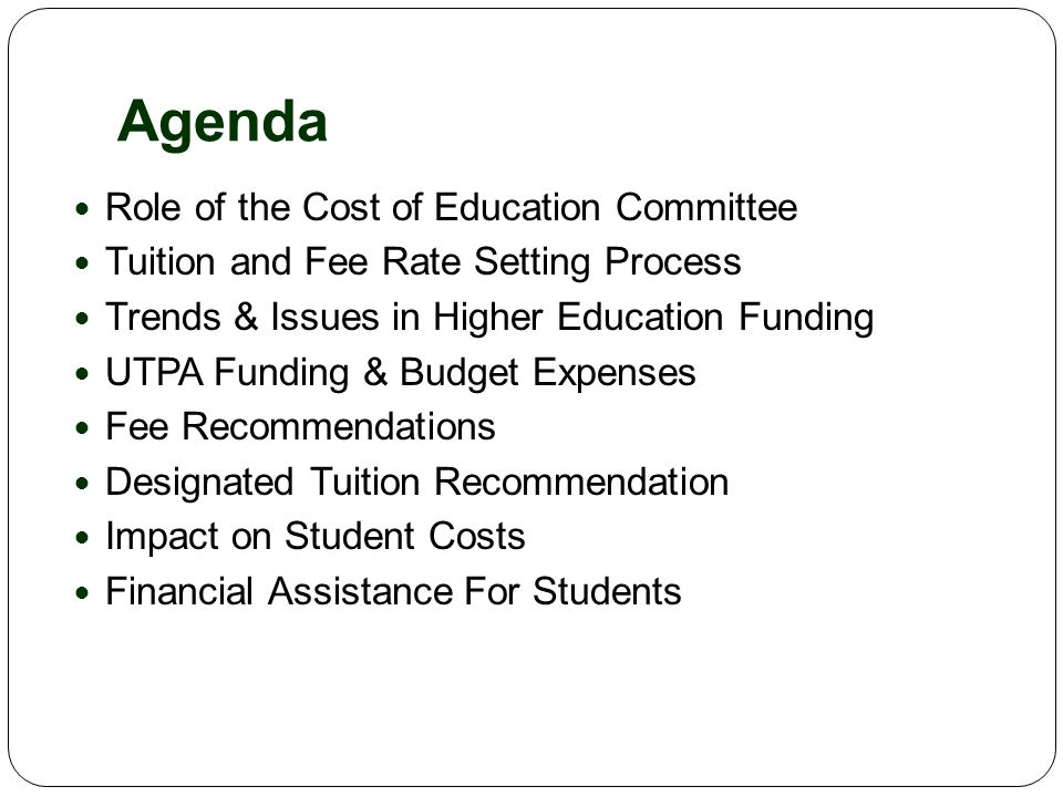 Recommendations – Mandatory Fees Fee NameCurrent FY 2010 Proposed FY 2011 Proposed FY 2012 Medical Service Fee $23.10 (per semester) $25.10 (per semester) $27.35 (per semester) Library Support Fee $2.25/ SCH$2.75/ SCH$3.25/ SCH