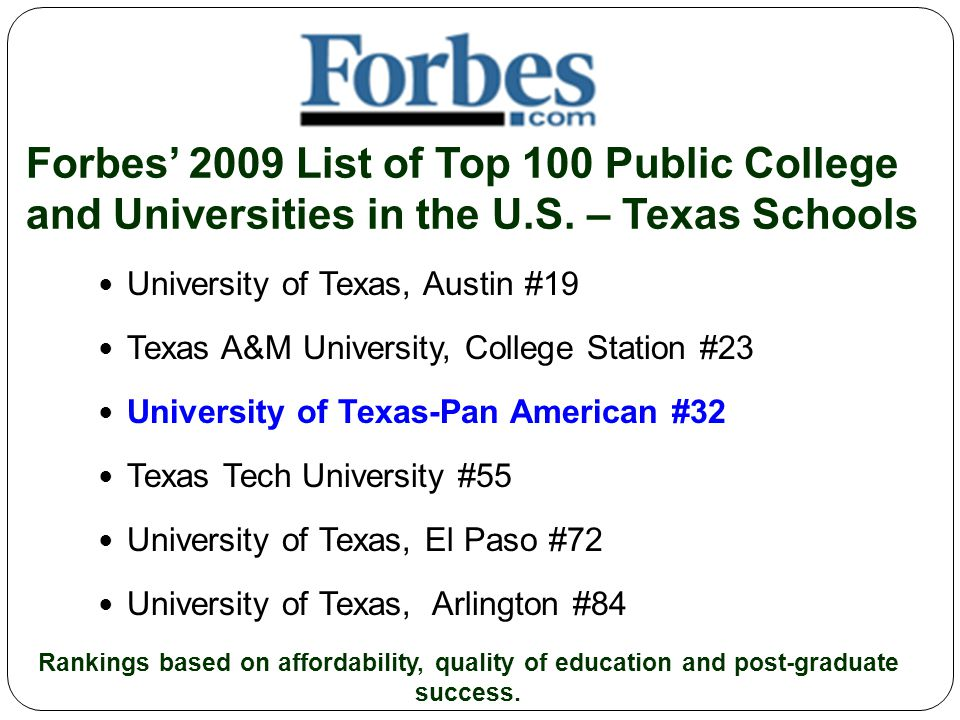Forbes' 2009 List of Top 100 Public College and Universities in the U.S.