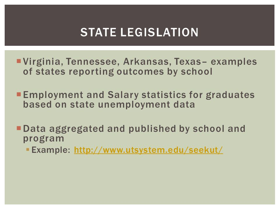 STATE LEGISLATION  Virginia, Tennessee, Arkansas, Texas– examples of states reporting outcomes by school  Employment and Salary statistics for graduates based on state unemployment data  Data aggregated and published by school and program  Example: http://www.utsystem.edu/seekut/http://www.utsystem.edu/seekut/