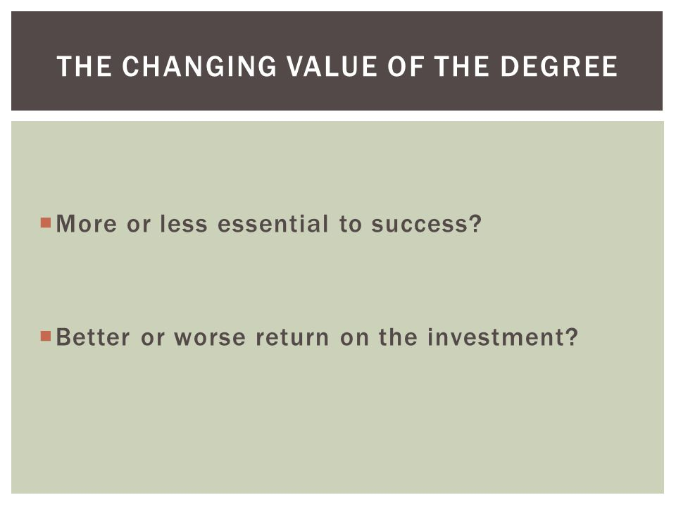  More or less essential to success.  Better or worse return on the investment.