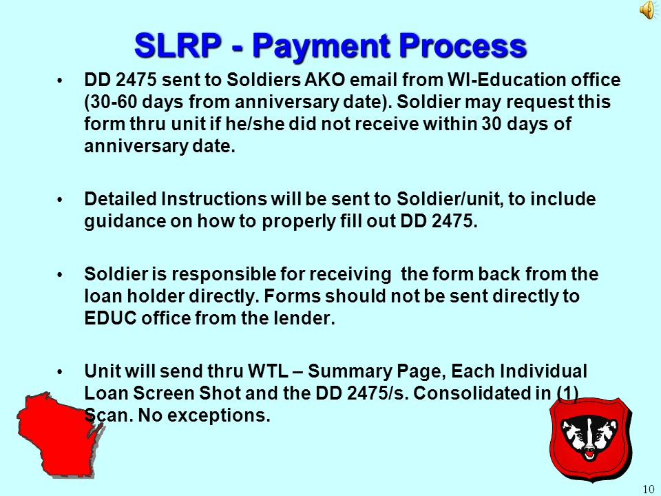 SLRP (Recommendations) Soldiers that have (2) loan holders should consolidate loans immediately.