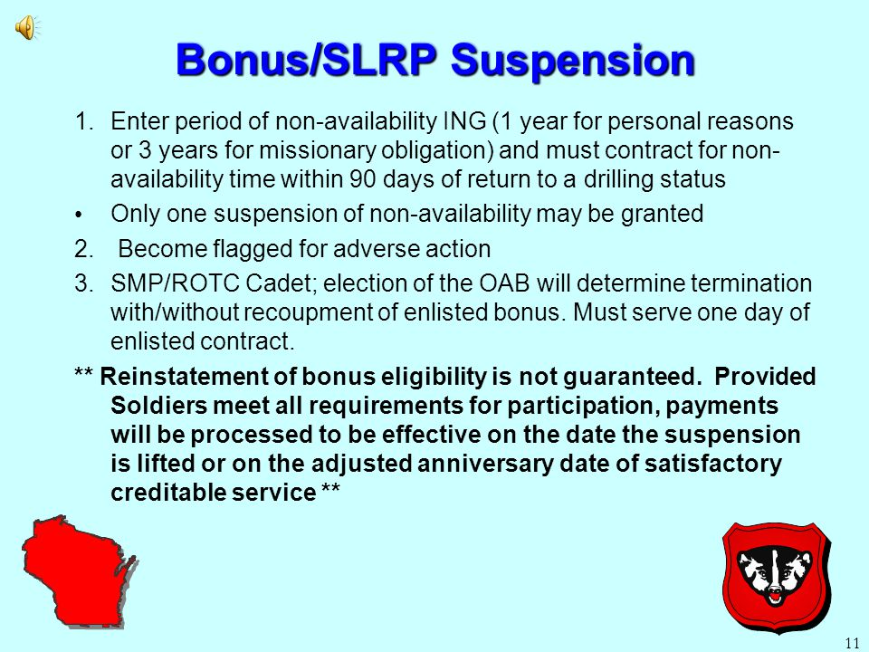 10 SLRP - Payment Process DD 2475 sent to Soldiers AKO email from WI-Education office (30-60 days from anniversary date).