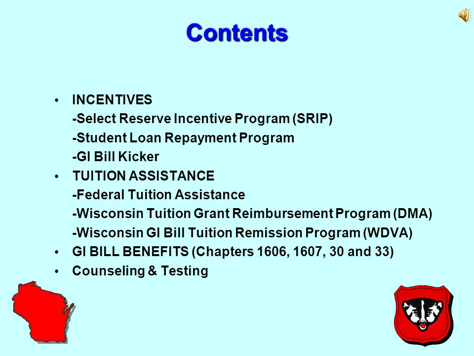 2 2MISSION: To improve the strength and readiness of the WI Army National Guard by supporting the civilian education needs of Soldiers and families through counseling and providing information which focuses on the optimal usage of benefits and incentives available to further both professional and military goals.
