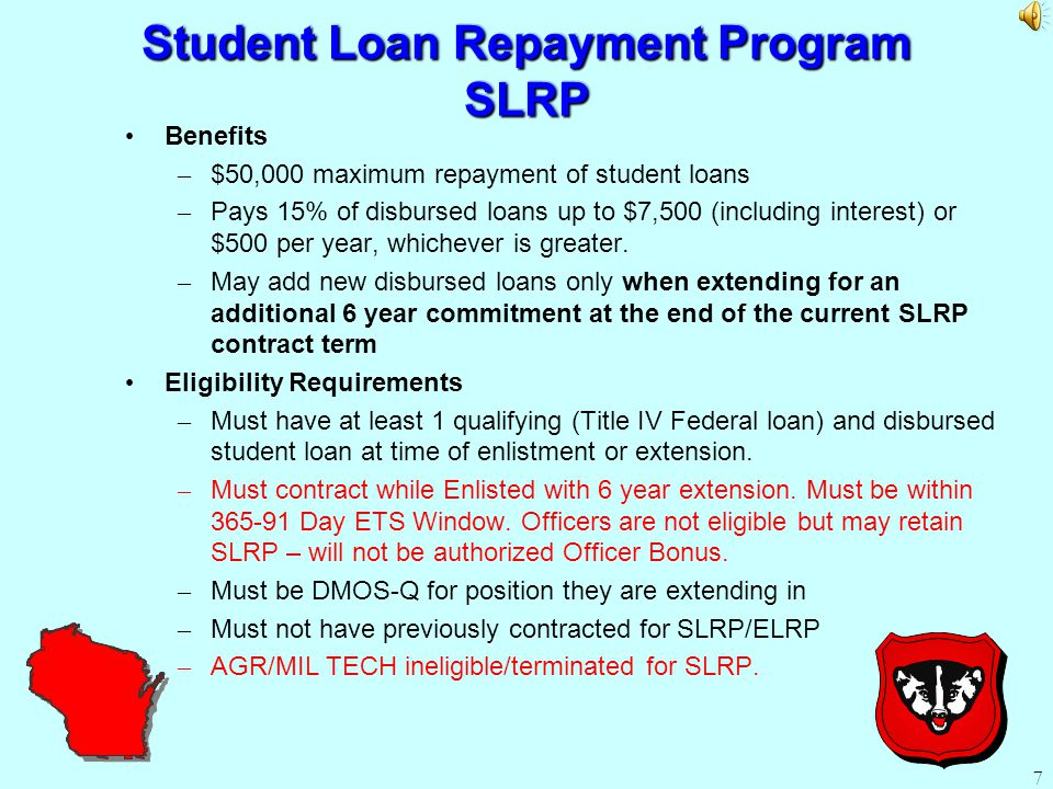 Re-Enlistment/Extension Bonus Must be E-7 or below with less than 13 Years time in service (TIS).