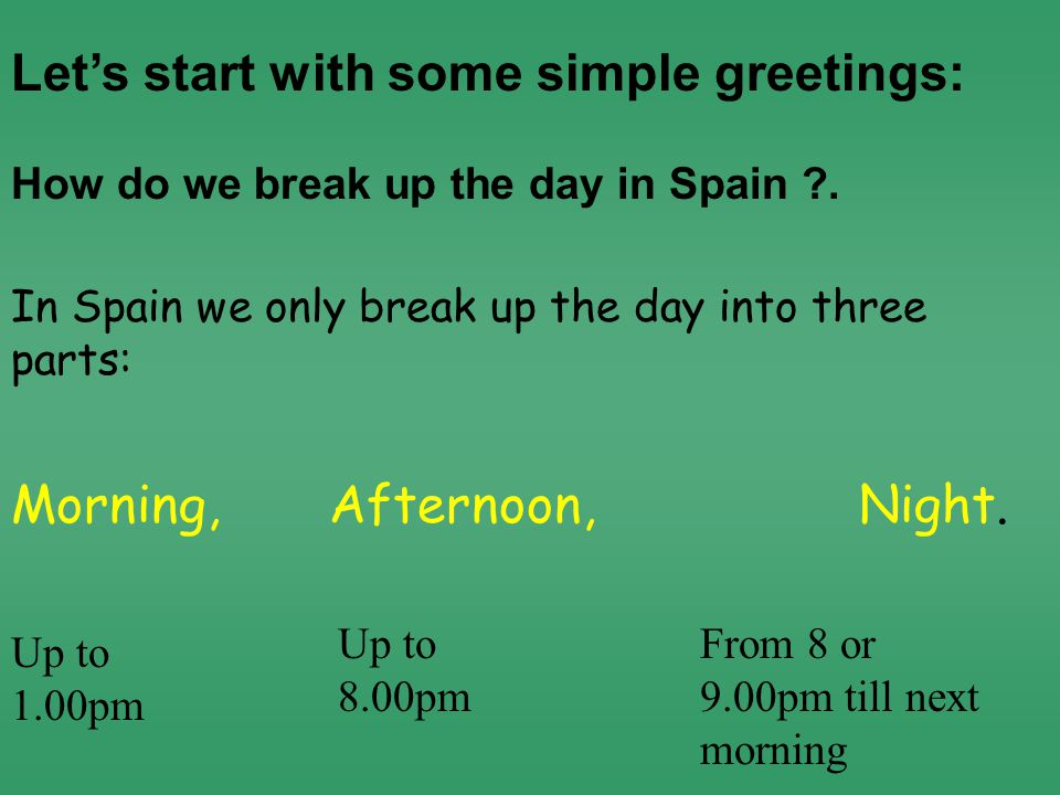 Morning,Afternoon,Night. How do we break up the day in Spain .