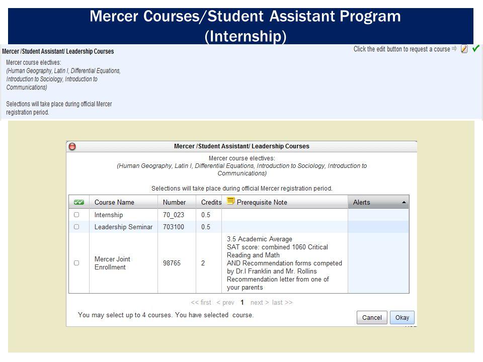 Mercer Courses/Student Assistant Program (Internship)