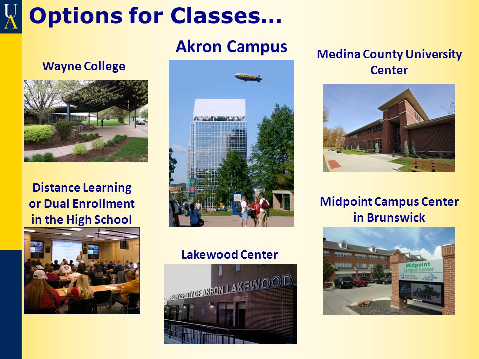 Options for Classes… Midpoint Campus Center in Brunswick Medina County University Center Akron Campus Distance Learning or Dual Enrollment in the High School Wayne College Lakewood Center