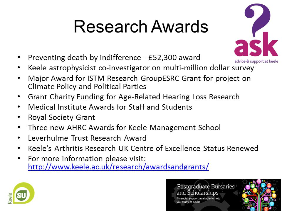 Research Awards Preventing death by indifference - £52,300 award Keele astrophysicist co-investigator on multi-million dollar survey Major Award for ISTM Research GroupESRC Grant for project on Climate Policy and Political Parties Grant Charity Funding for Age-Related Hearing Loss Research Medical Institute Awards for Staff and Students Royal Society Grant Three new AHRC Awards for Keele Management School Leverhulme Trust Research Award Keele s Arthritis Research UK Centre of Excellence Status Renewed For more information please visit: http://www.keele.ac.uk/research/awardsandgrants/ http://www.keele.ac.uk/research/awardsandgrants/