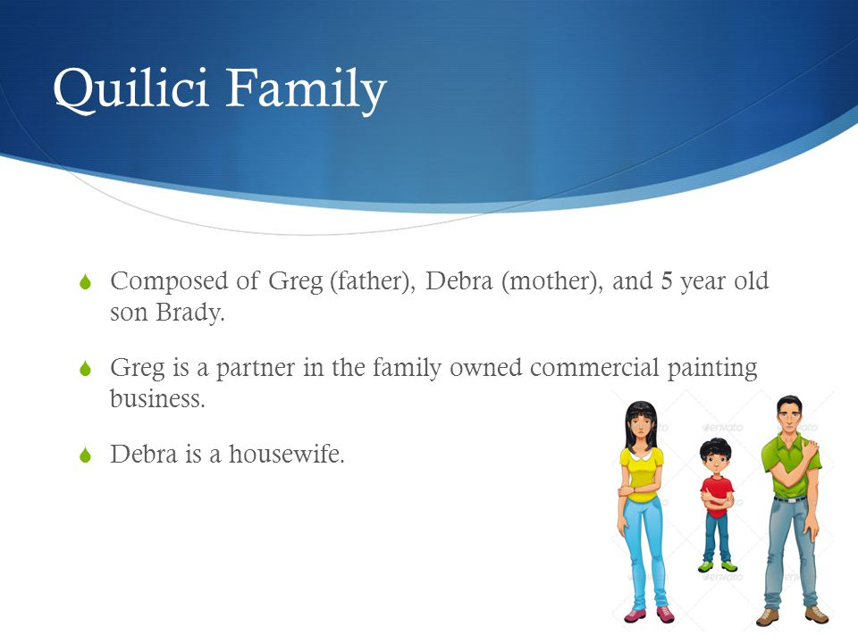 Quilici Family  Composed of Greg (father), Debra (mother), and 5 year old son Brady.  Greg is a partner in the family owned commercial painting busi
