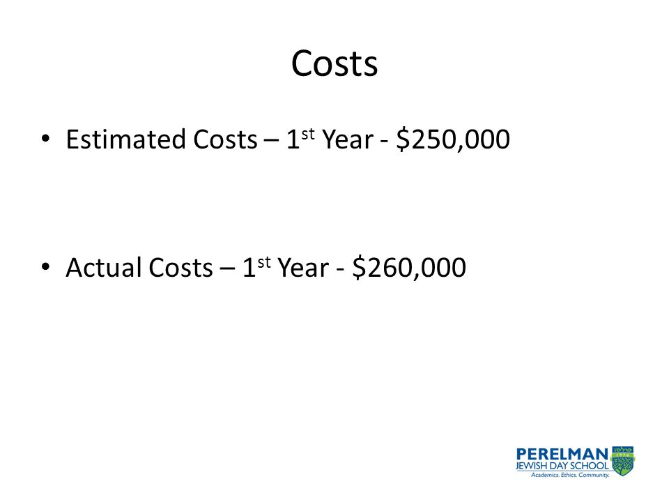 Costs Estimated Costs – 1 st Year - $250,000 Actual Costs – 1 st Year - $260,000