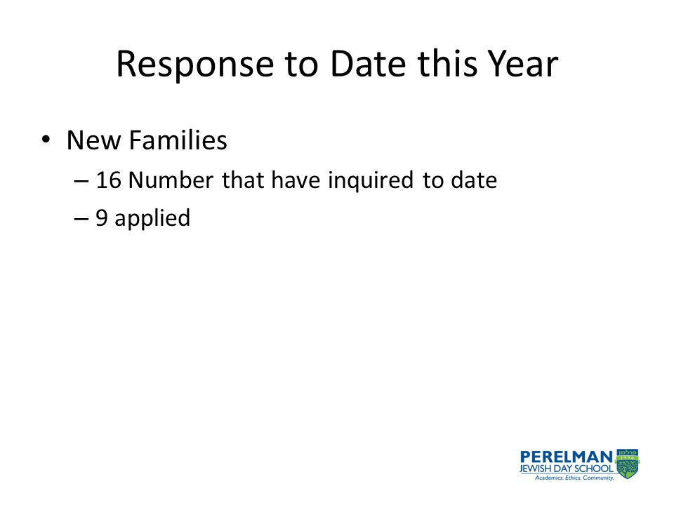 Response to Date this Year New Families – 16 Number that have inquired to date – 9 applied