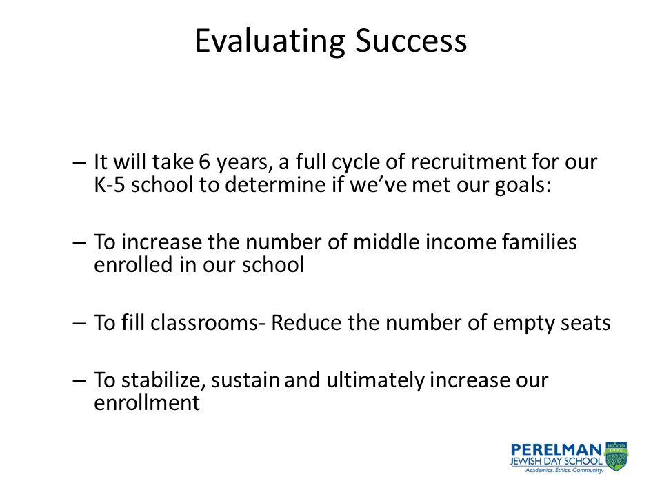 Evaluating Success – It will take 6 years, a full cycle of recruitment for our K-5 school to determine if we've met our goals: – To increase the number of middle income families enrolled in our school – To fill classrooms- Reduce the number of empty seats – To stabilize, sustain and ultimately increase our enrollment