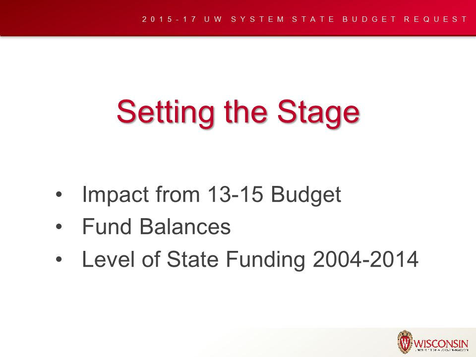 2015-17 UW SYSTEM STATE BUDGET REQUEST Setting the Stage Impact from 13-15 Budget Fund Balances Level of State Funding 2004-2014