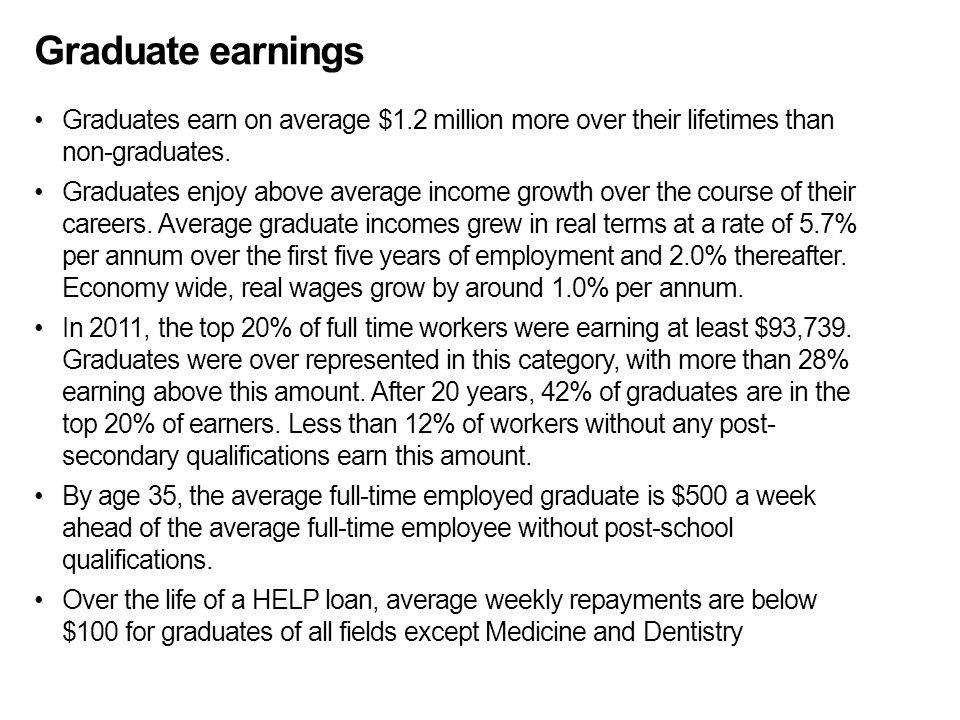 Graduate earnings Graduates earn on average $1.2 million more over their lifetimes than non-graduates. Graduates enjoy above average income growth ove