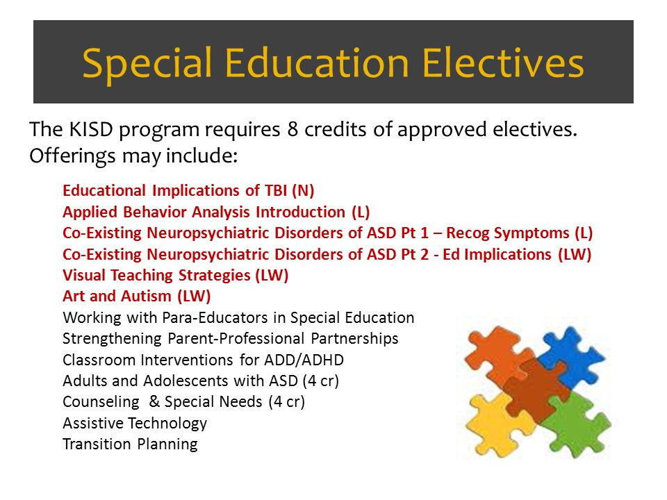 Special Education Electives The KISD program requires 8 credits of approved electives. Offerings may include: Educational Implications of TBI (N) Appl