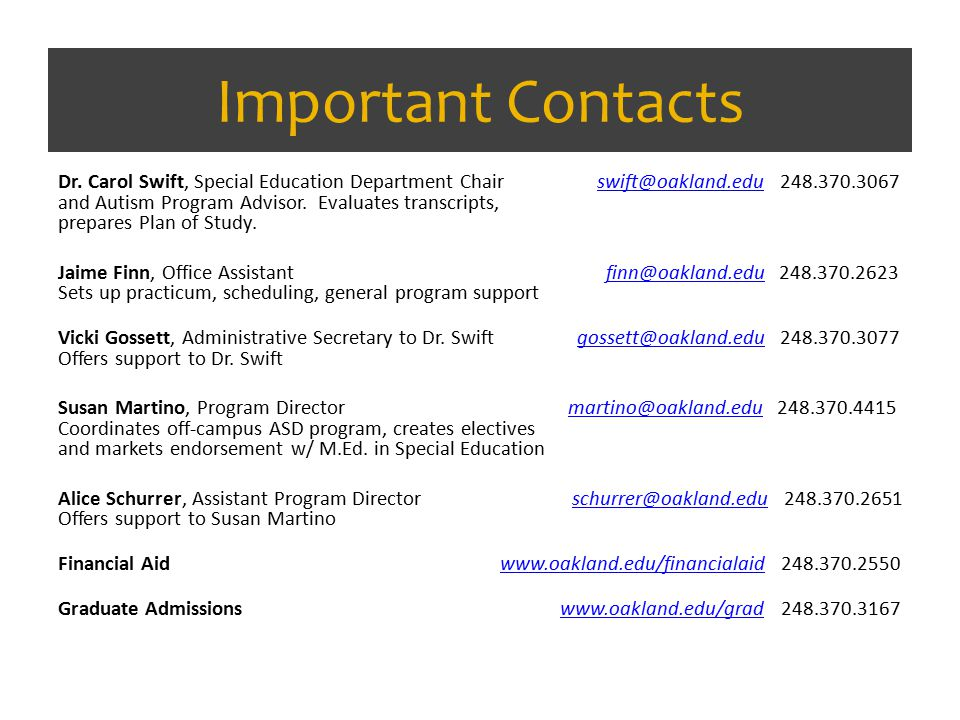 Important Contacts Dr.