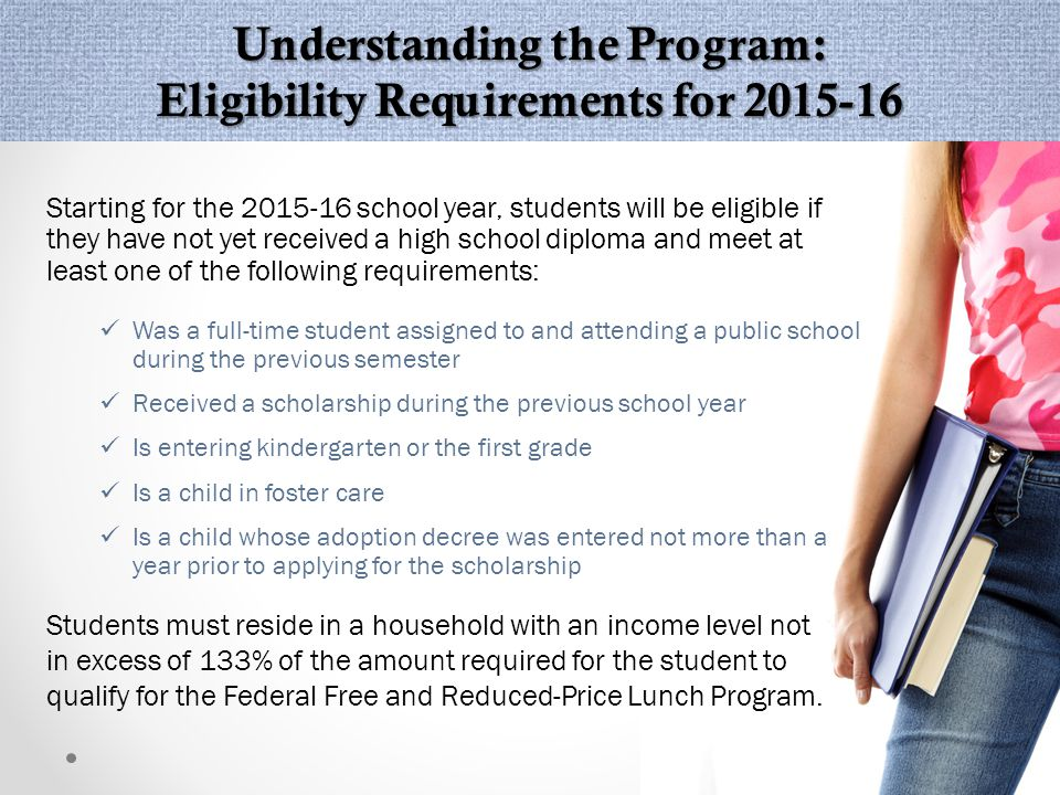Beginning with the 2015-16 school year, students must be from a household with an annual income that does not exceed 133% of the amount required to qualify for Free and Reduced Lunch.