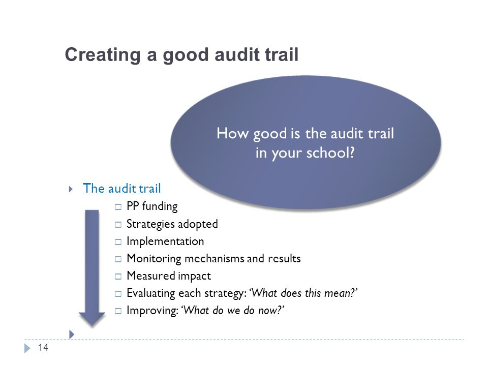 Creating a good audit trail  The audit trail  PP funding  Strategies adopted  Implementation  Monitoring mechanisms and results  Measured impact  Evaluating each strategy: 'What does this mean '  Improving: 'What do we do now '  14 How good is the audit trail in your school